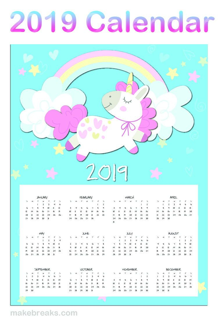 Free Printable Unicorn One Page 2020 Calendar | Unicorn