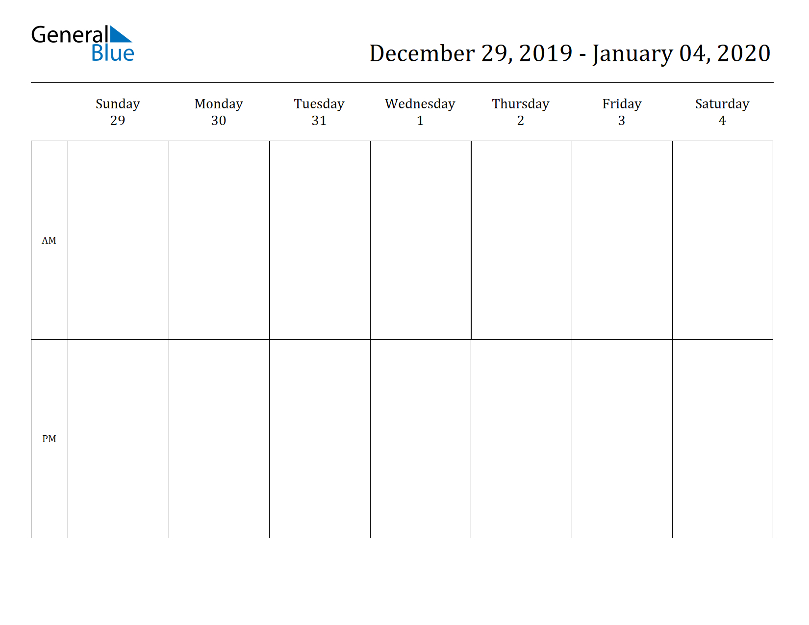 Free Printable Weekly Calendars For 2020 In Pdf Document Format