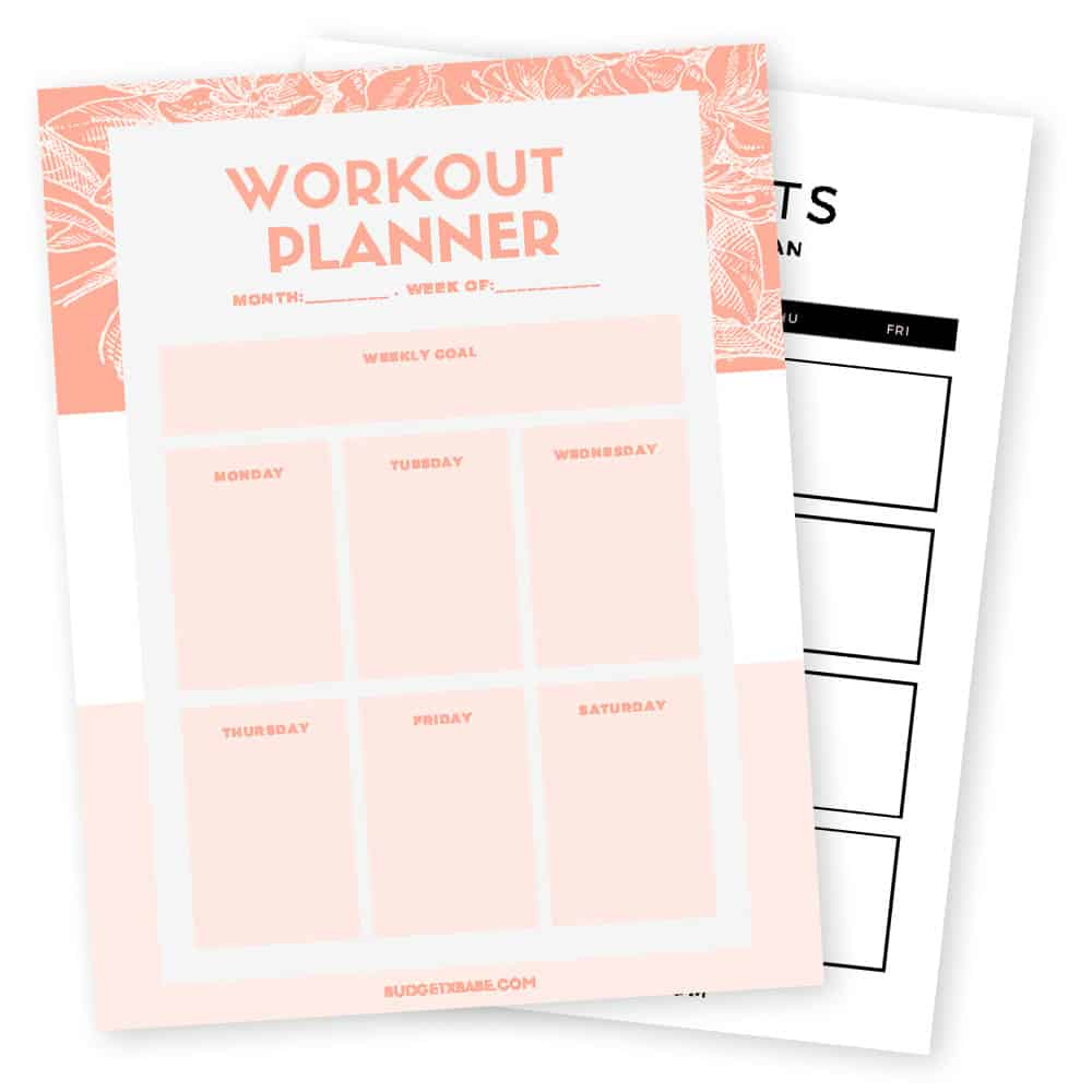 Free Printable Workout Calendar - Instant Download - Budgetxbabe