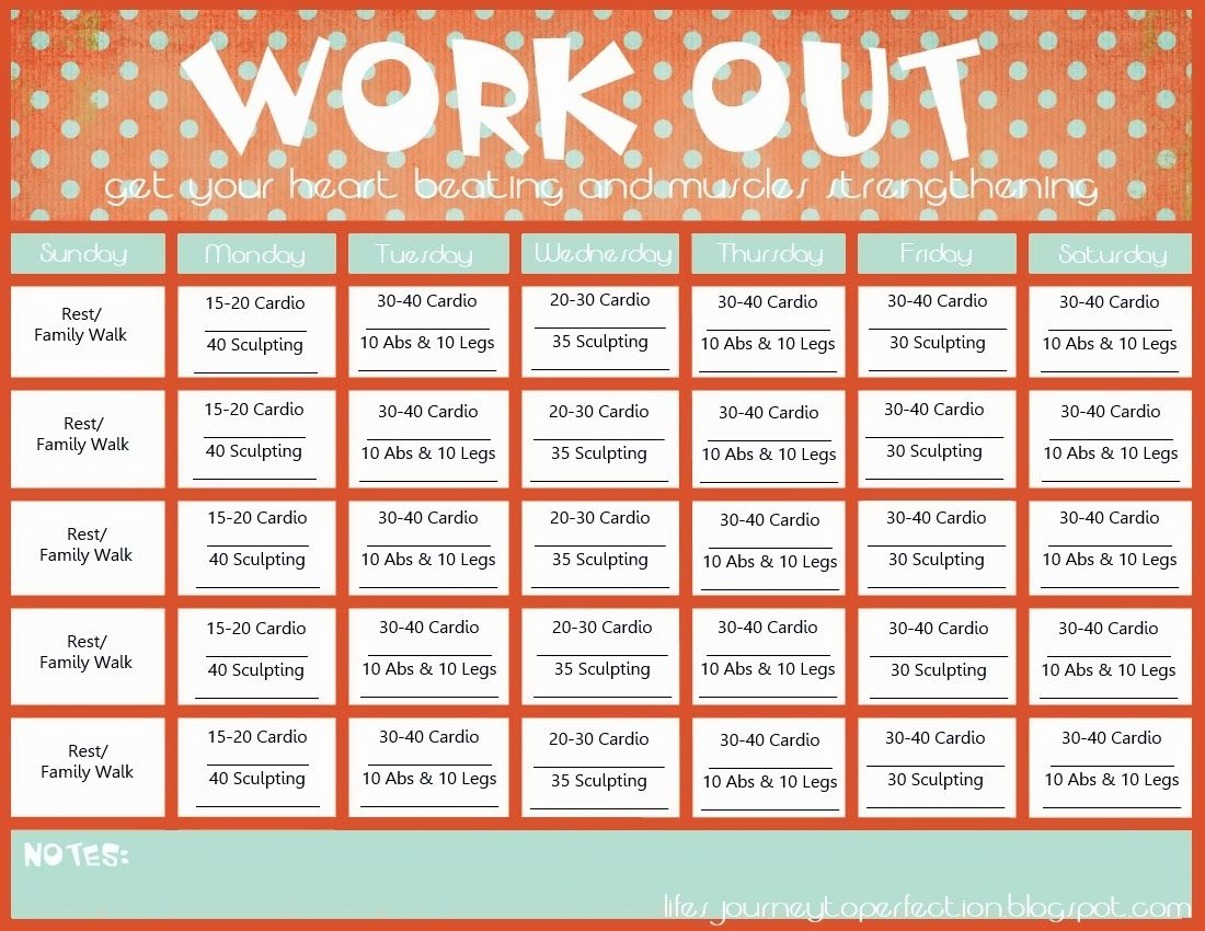 Free Printable Workout Calendar Template | Fitness | Calendrier