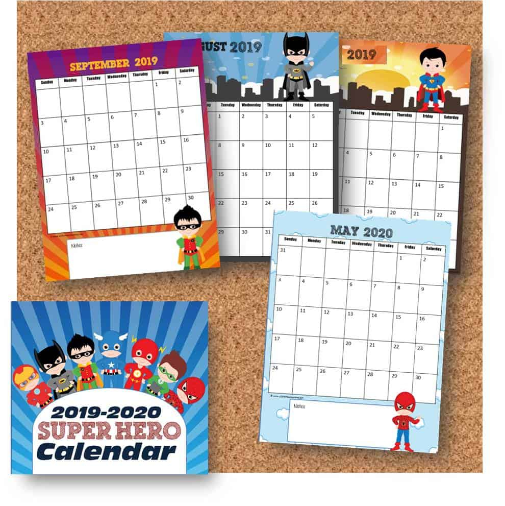 Free Super Hero Calendar 2019-2020 | 123 Homeschool 4 Me