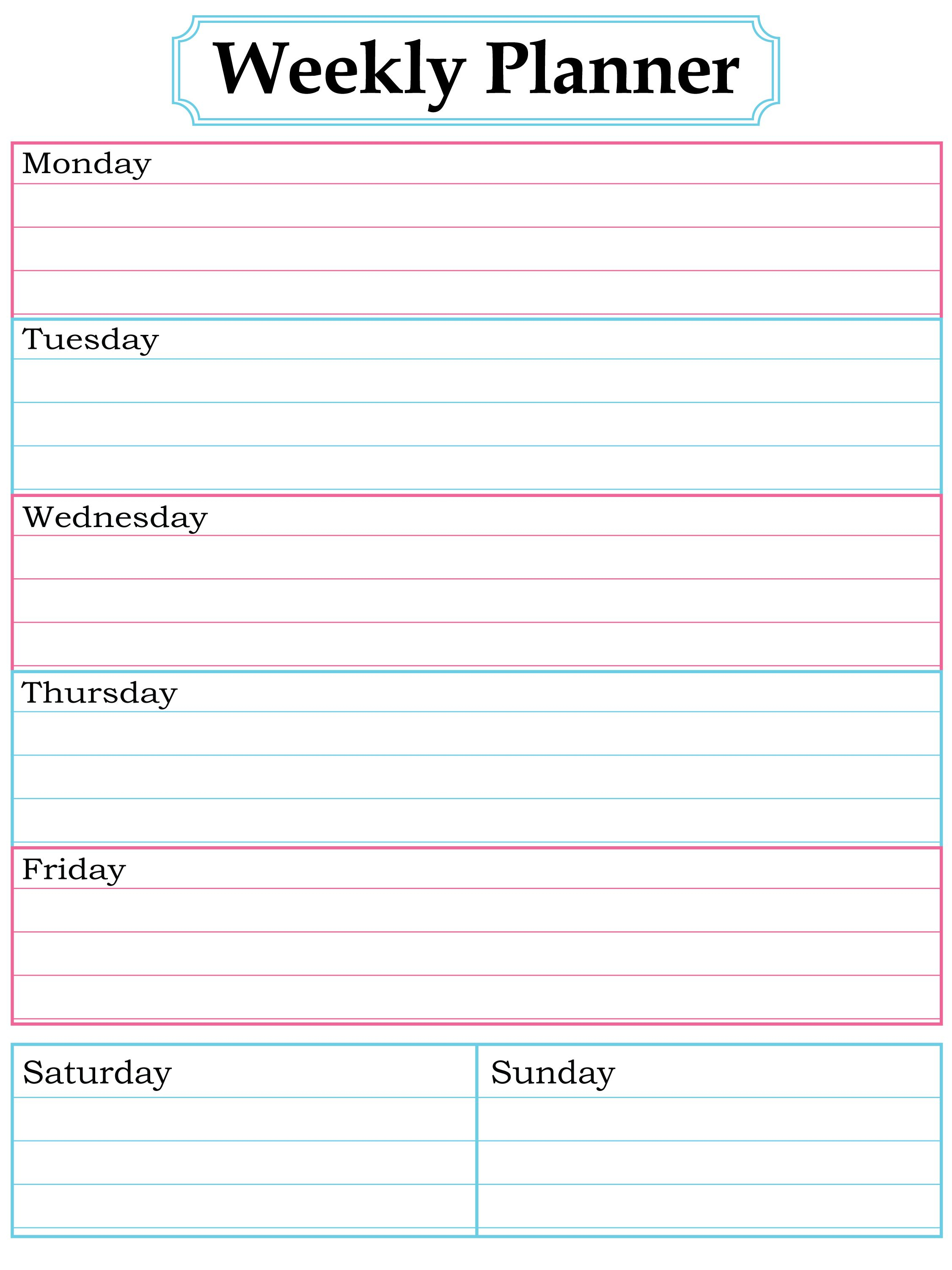 Free Weekly Planner Printable | Journal And Papercraft