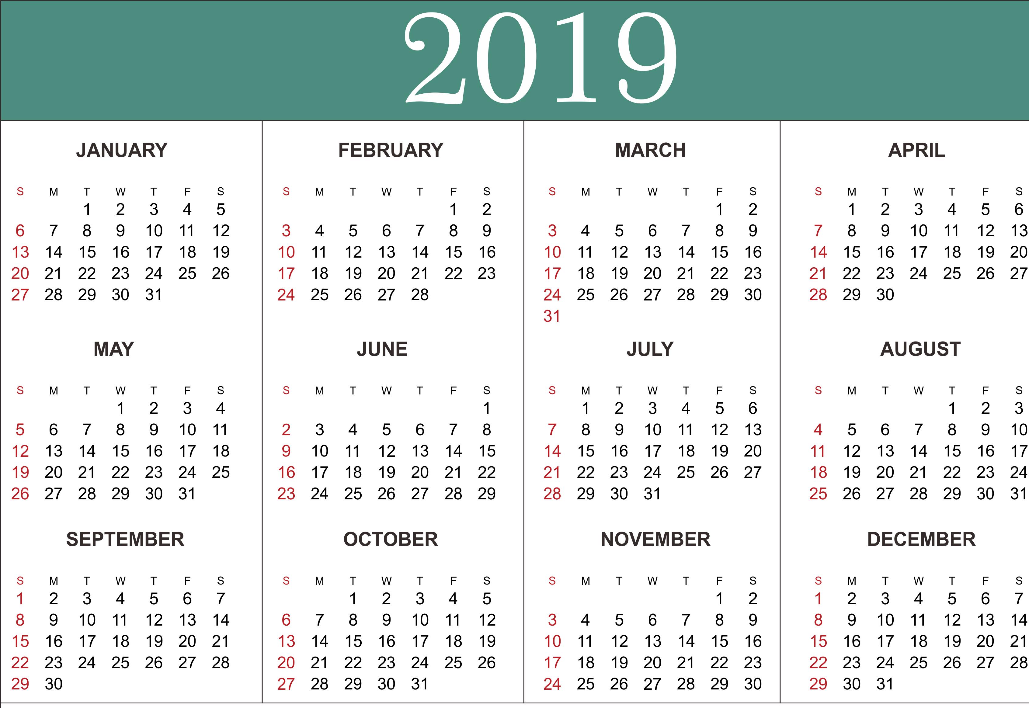 Free Year Calendar - Wpa.wpart.co