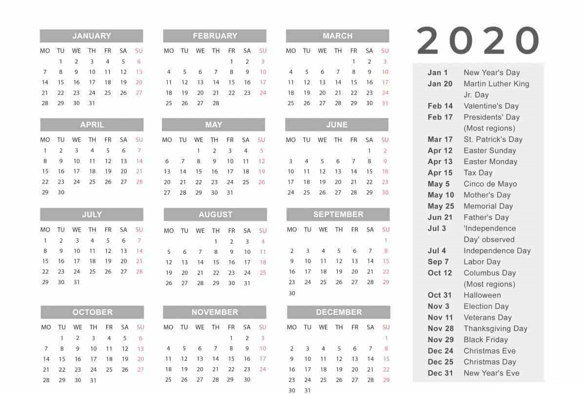 Free Yearly 12 Month Calendar One Page Template Printable