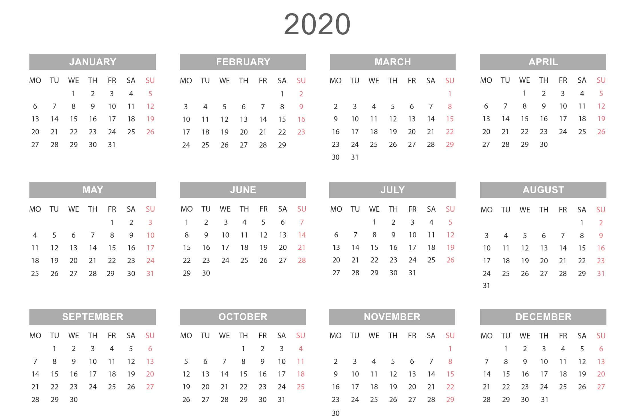 Free Yearly Calendar 2020 Template Online - Set Your Plan