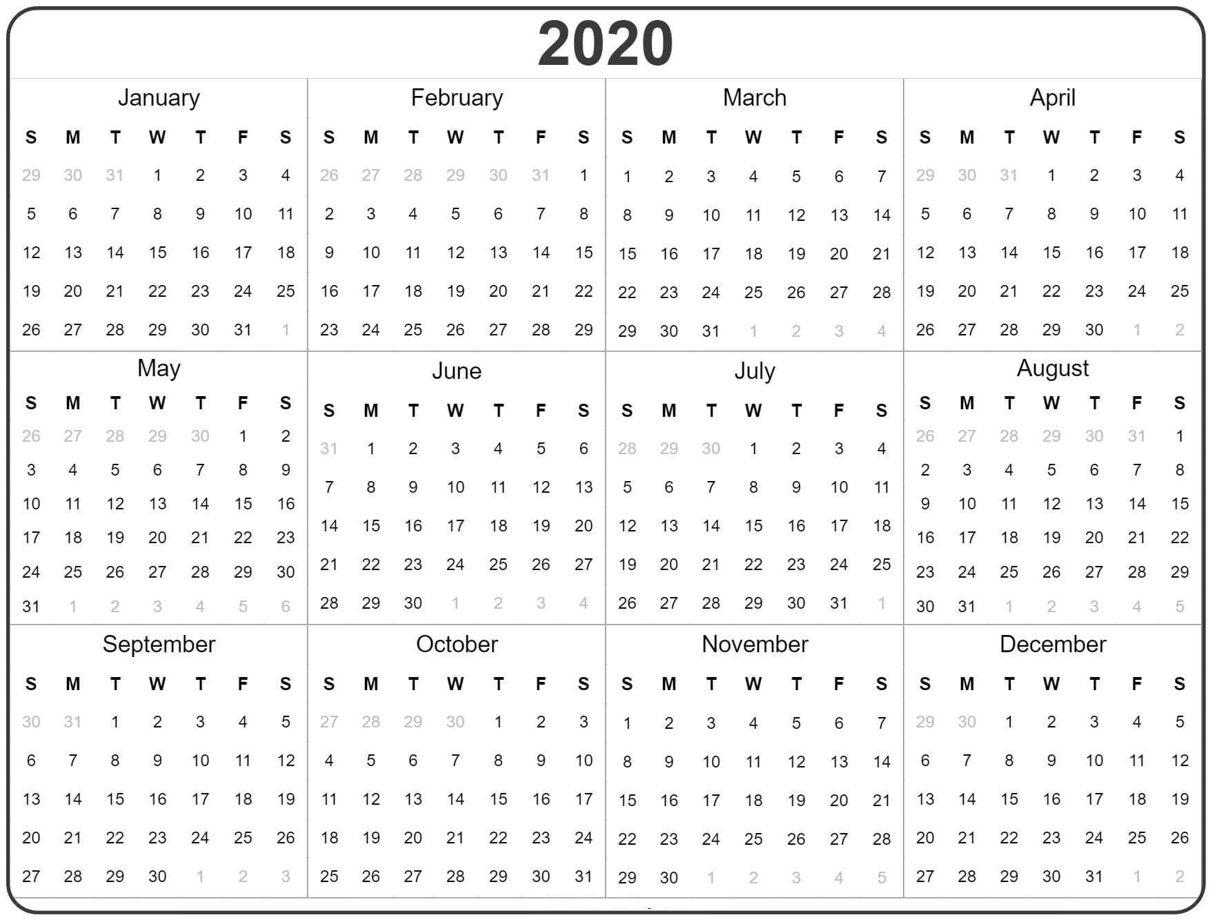 Free Yearly Calendar 2020 With Notes - 2019 Calendars For