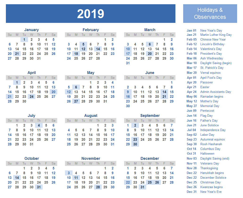 Free Yearly Printable Calendar 2019 With Uae (Dubai