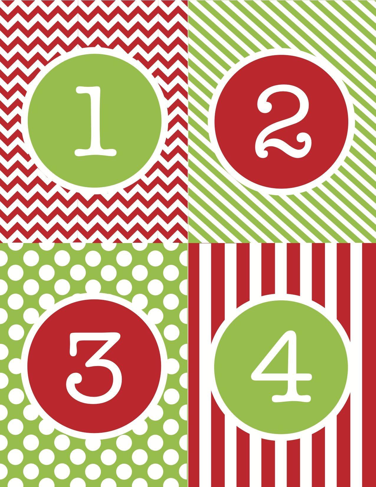 Free+Printable+Advent+Calendar+Numbers | Christmas Calendar