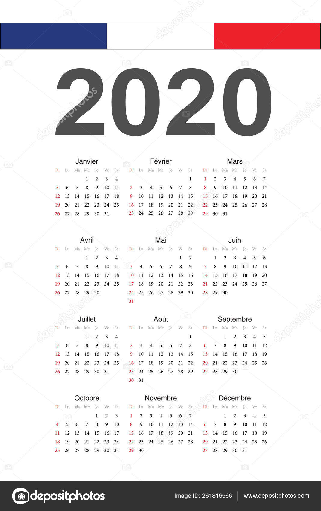 French 2020 Year Vector Calendar — Векторное Изображение
