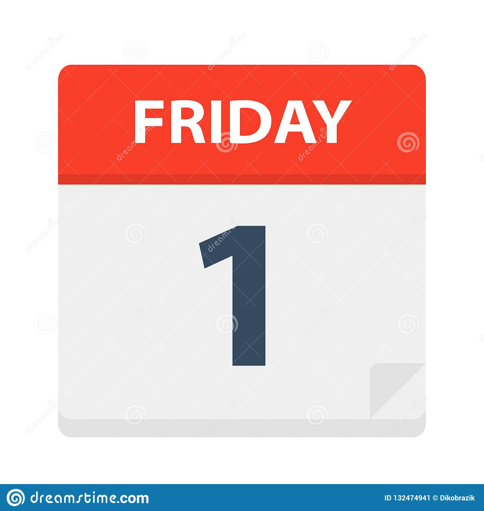 Friday 1 - Calendar Icon. Vector Illustration Of Week Day