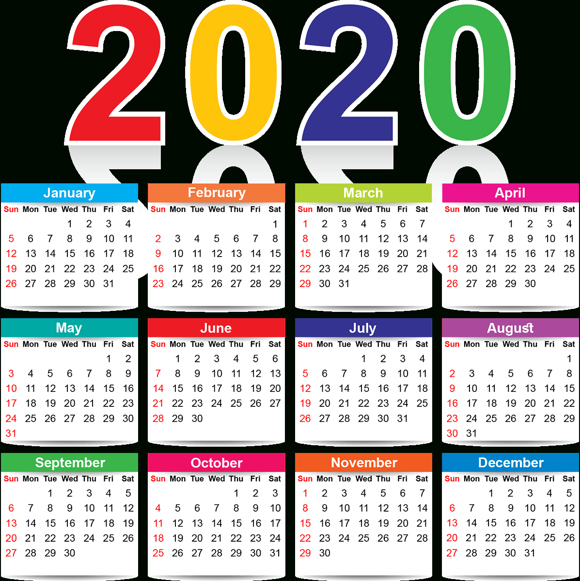Full Page Yearly Calendar 2020 Printable Cute Excel - Set