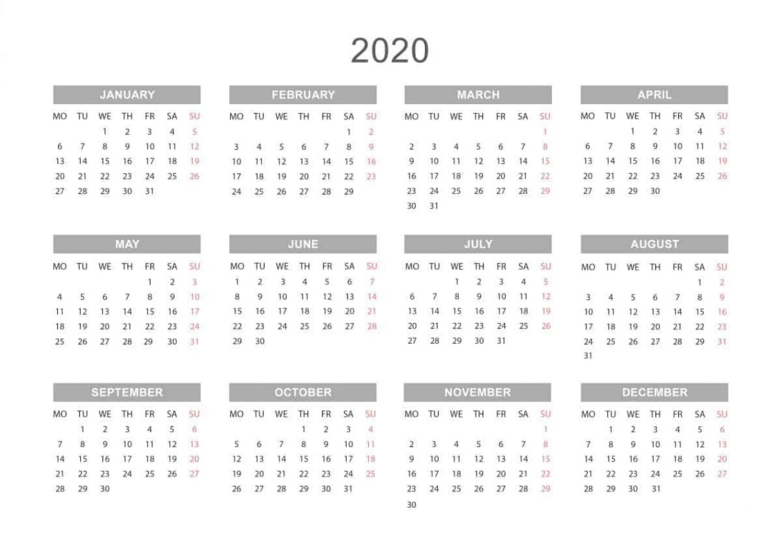 Full Year Calendar 2020 Printable - Wpa.wpart.co
