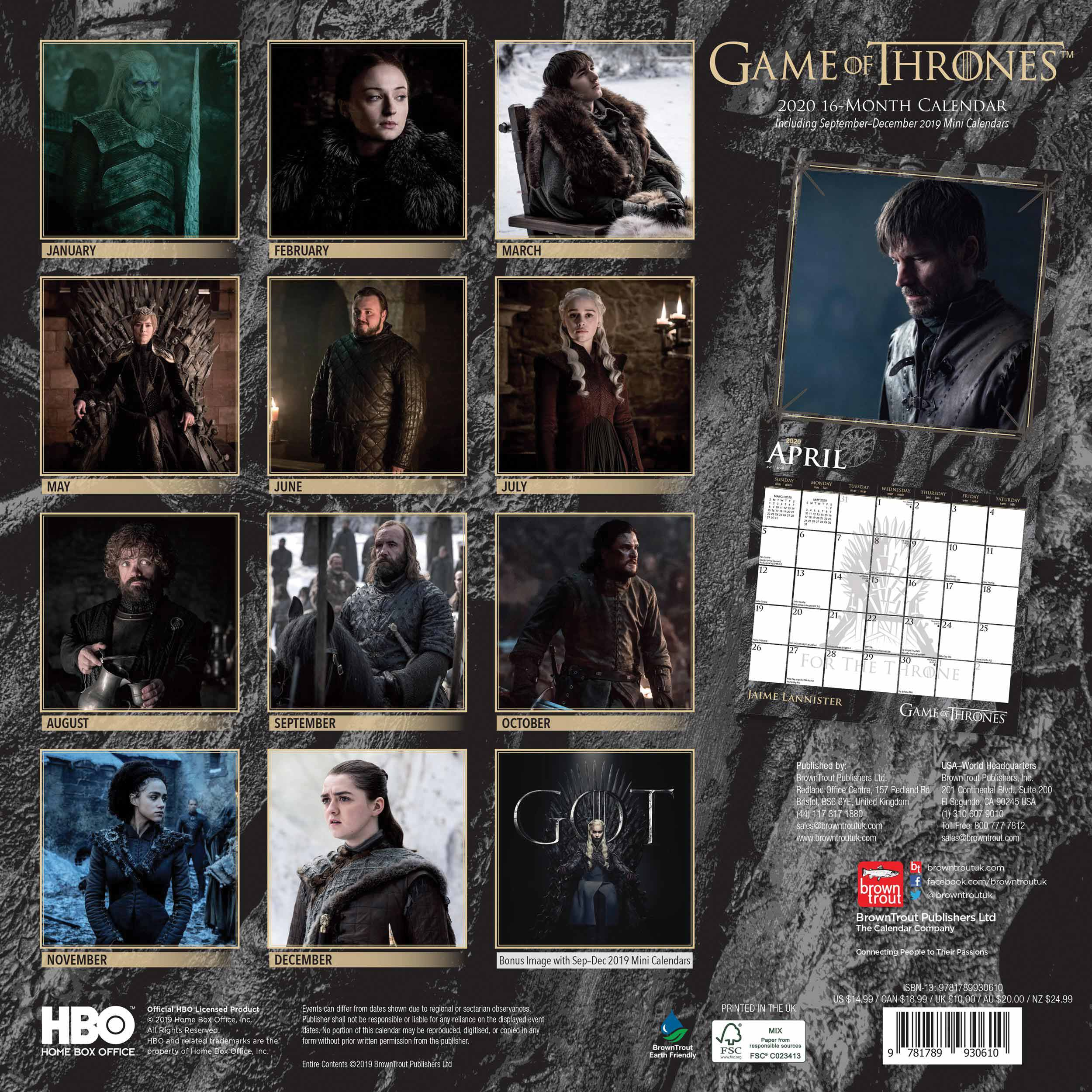 Game Of Thrones Official Calendar 2020