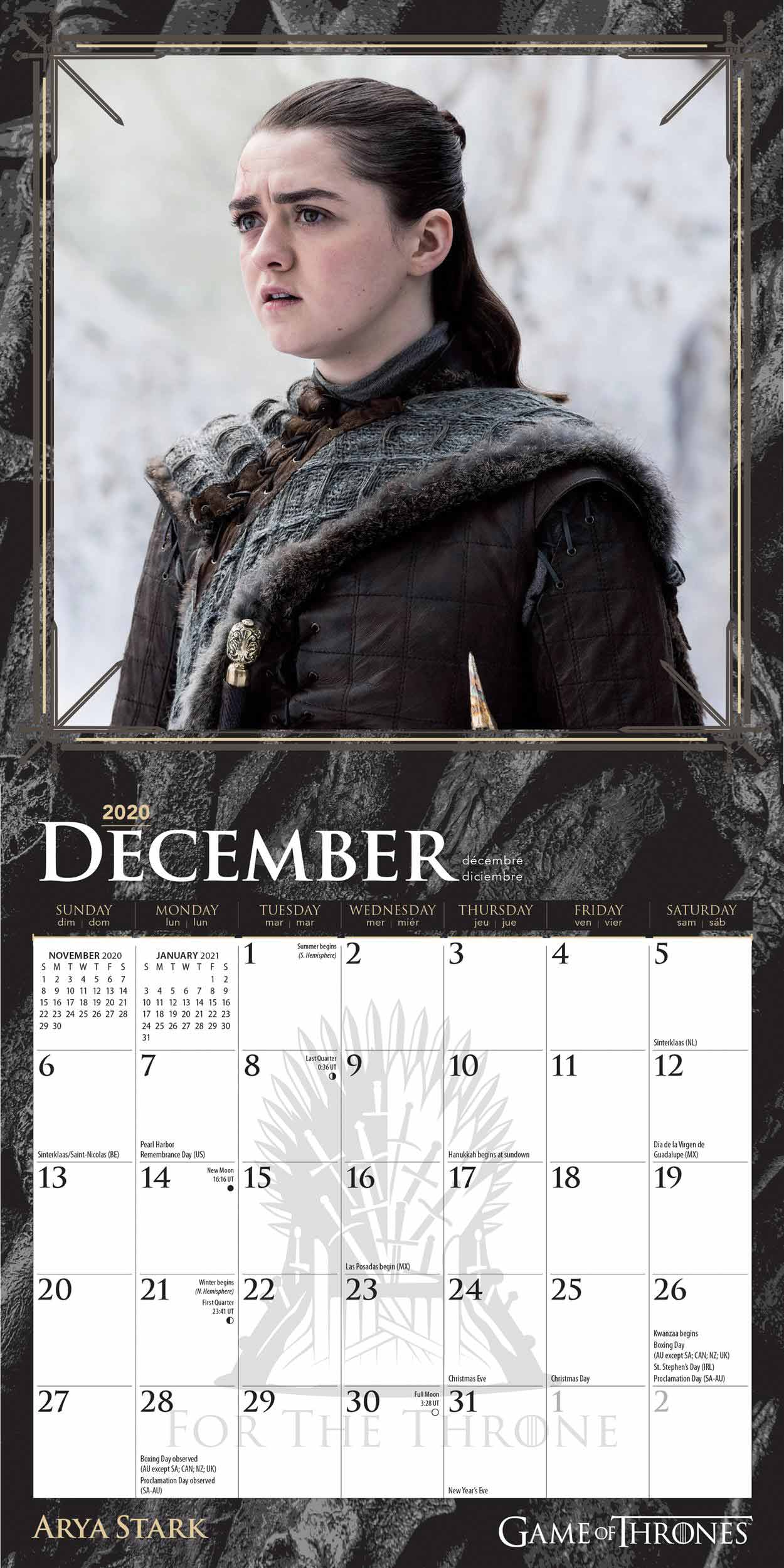 Game Of Thrones Official Mini Calendar 2020