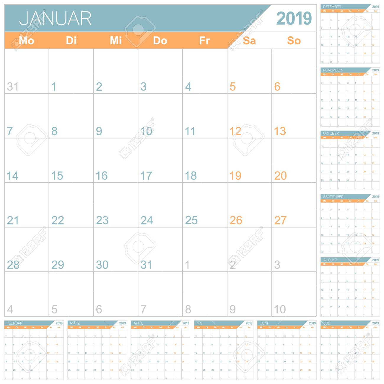 German Planning Calendar 2019, English Calendar Template For..