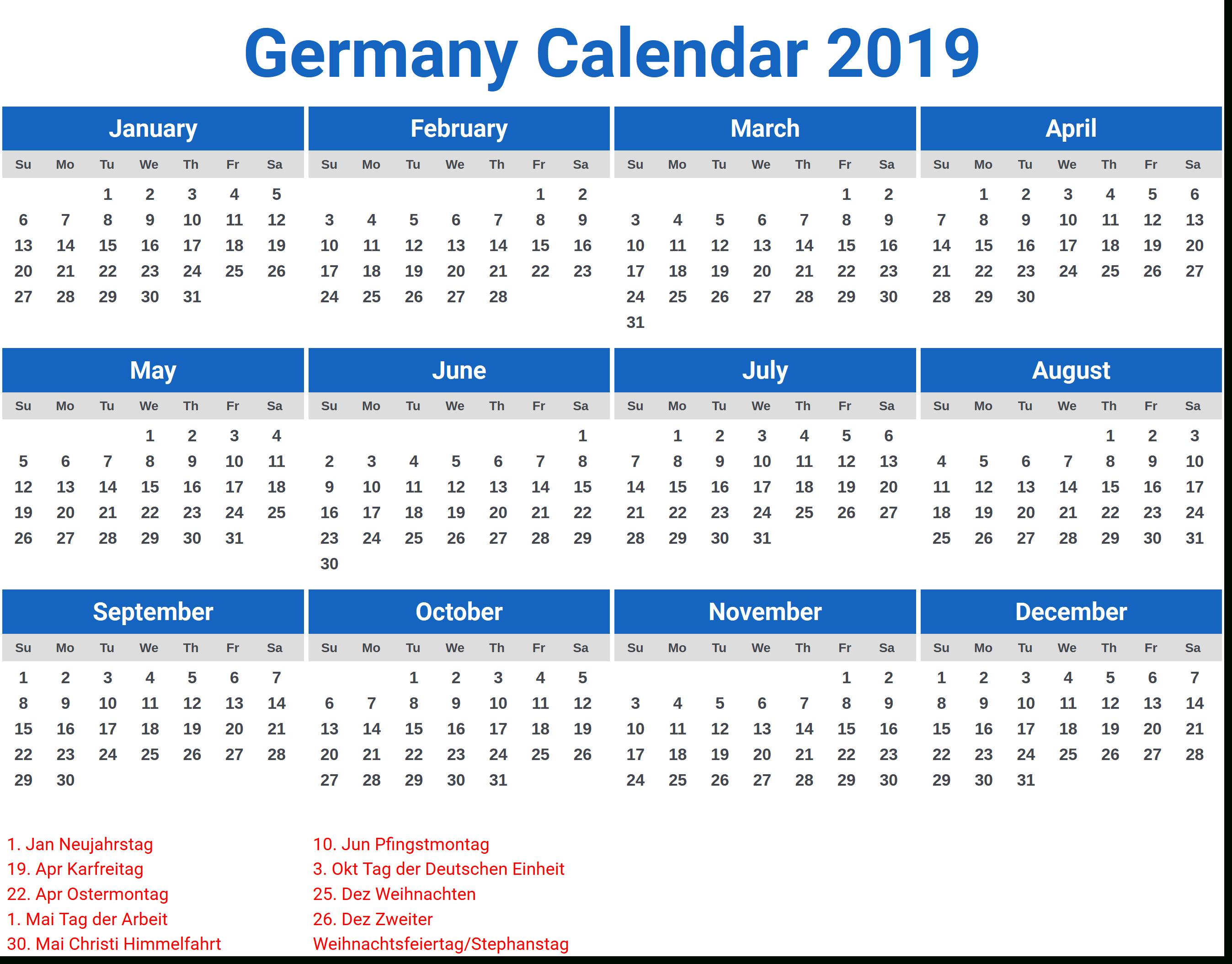 Germany 2019 Calendar With Holidays | 2019 Calendar