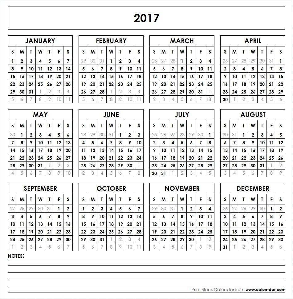 Get Free Blank Template Of Year 2017 Printable Calendar