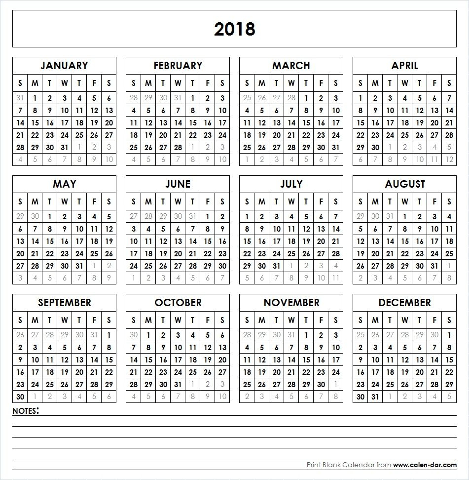 Get Free Blank Template Of Year 2018 Printable Calendar