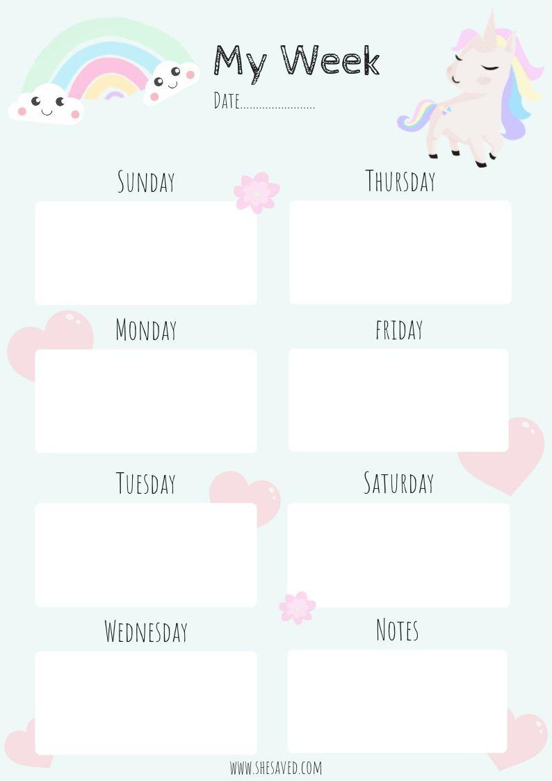 Get Organized! Free Printable Unicorn Calendar Pages