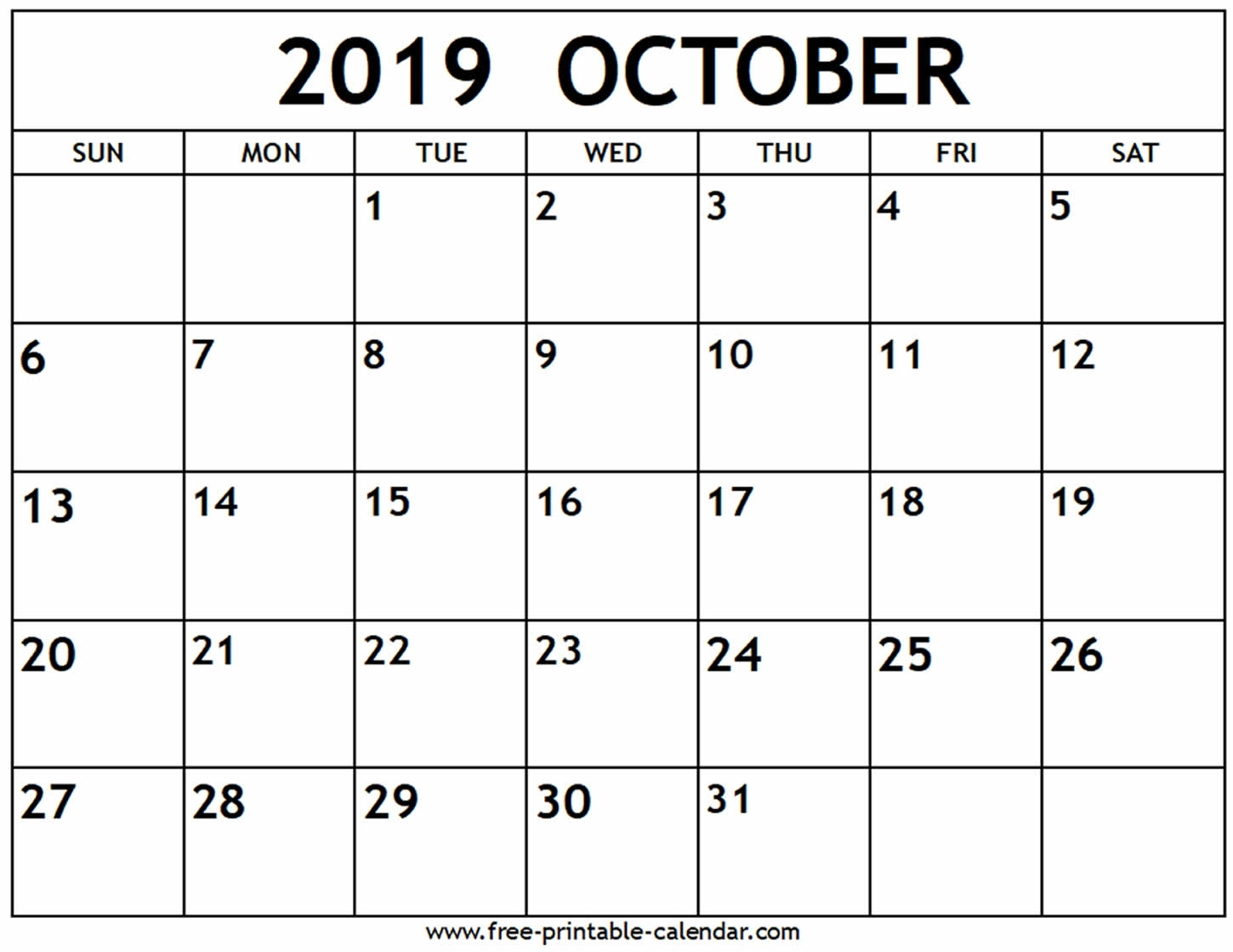 Good Print Calendar October 2019 : Mini Calendar Template