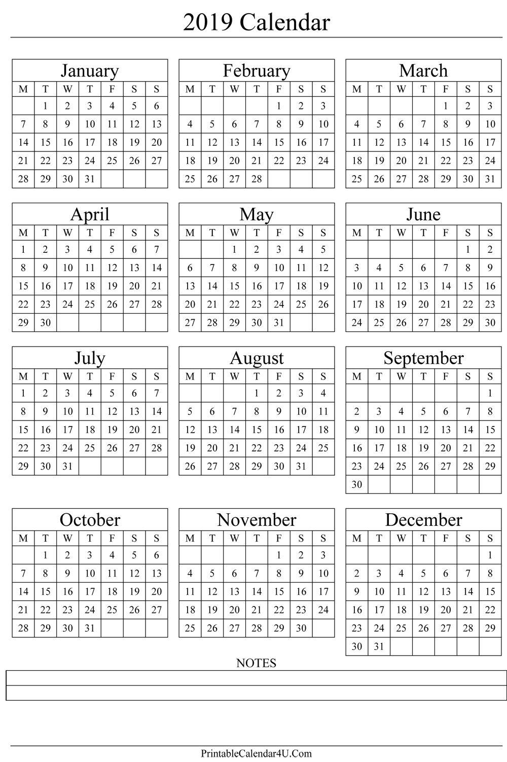Good Print Yearly Calendar 2019 Free : Mini Calendar Template
