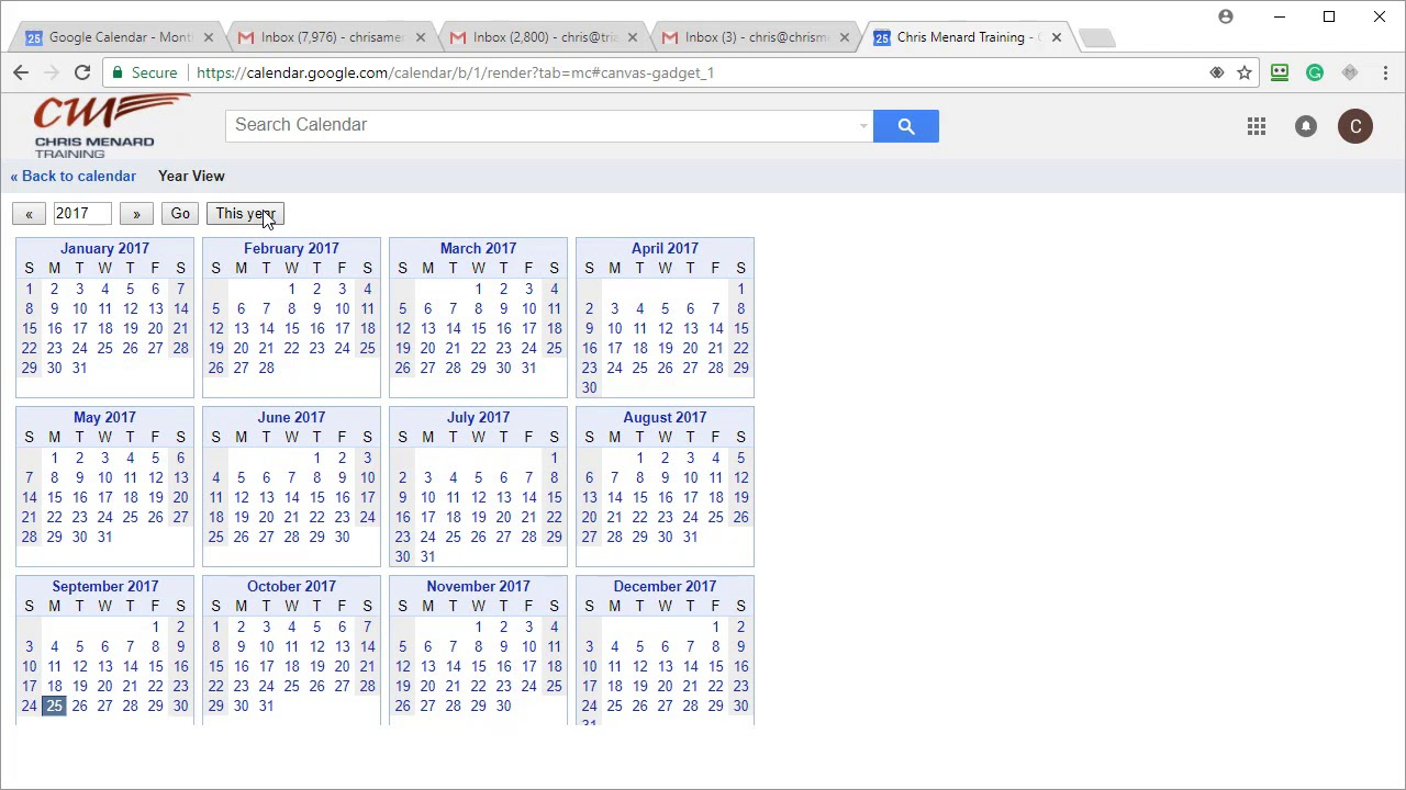Google Calendar - 4 Features To Turn On: Hide Times - Year View - Jump To Chris Menard
