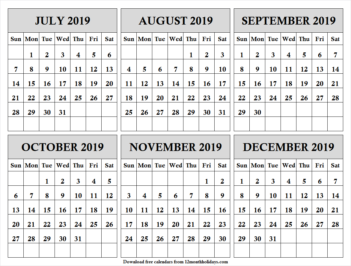 Half Year July December 2019 Calendar | Black And White Calendar