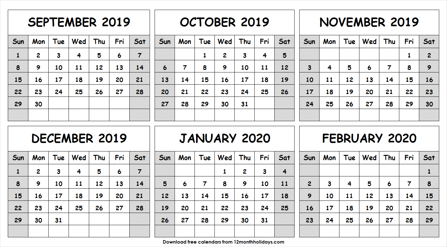 Half Year September 2019 February 2020 Calendar | Six Month