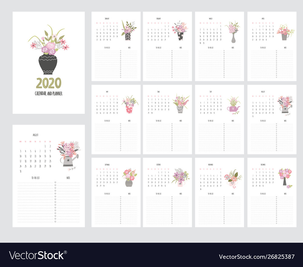 Hand Draw Calendar 2020 And Planner With Garden