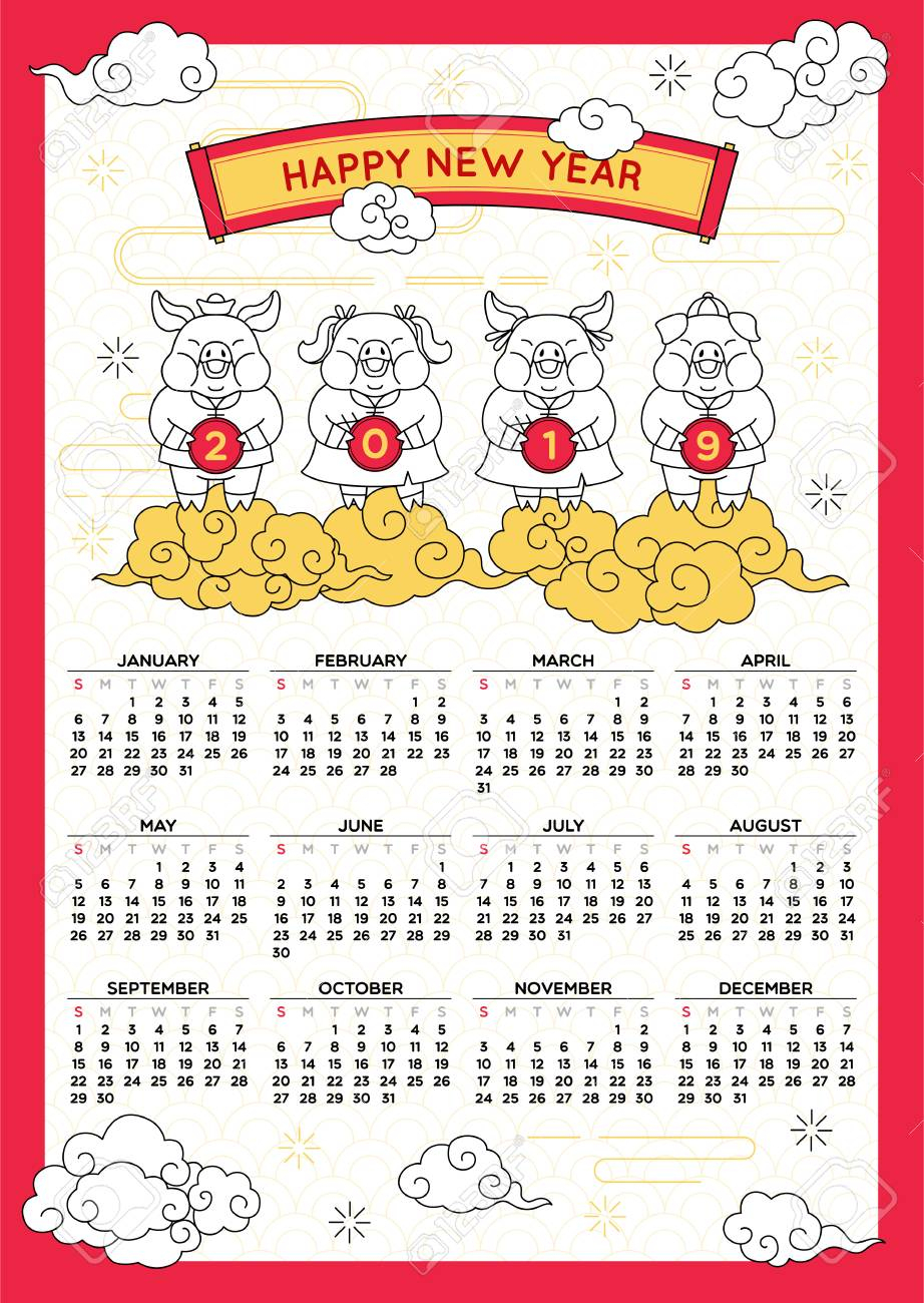 Happy Chinese New Year 2019 Calendar,year Of The Pig,holiday..