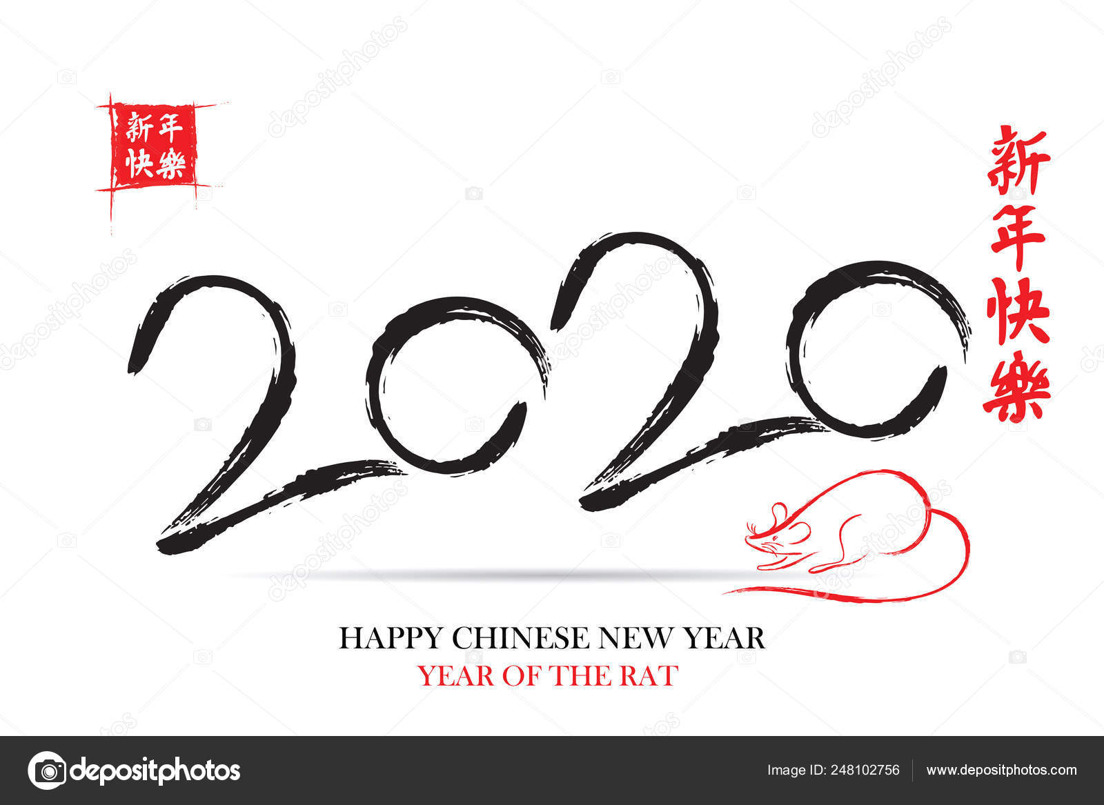 Happy Chinese New Year 2020 Year Of The Rat. — Stock Vector