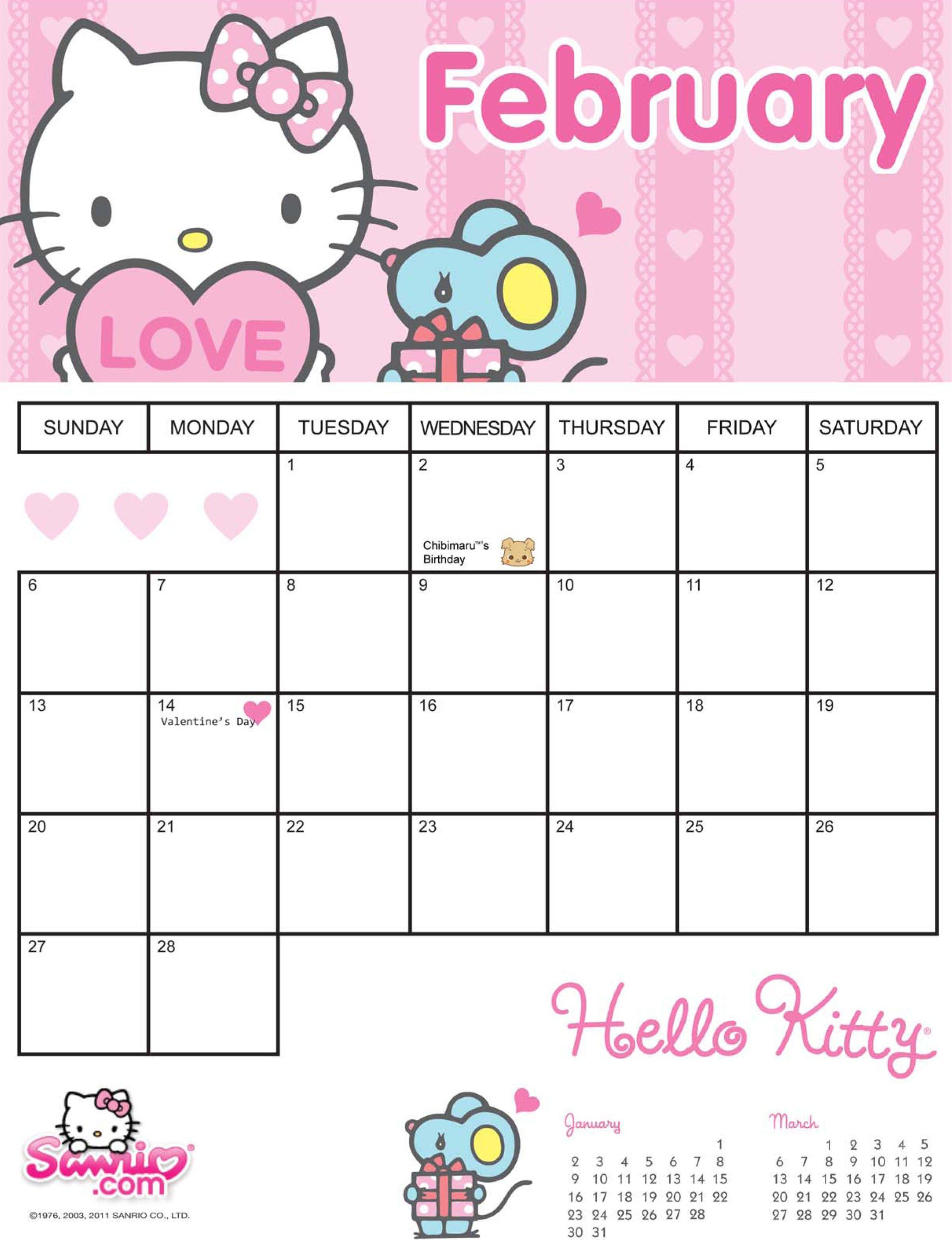 Hello Kitty February 2011 Printable Calendar | August