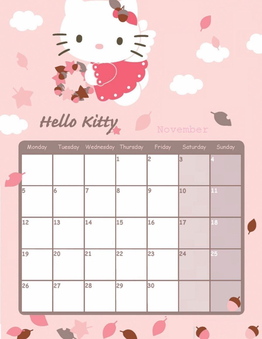 Hello Kitty November 2018 Calendar | June Calendar Printable