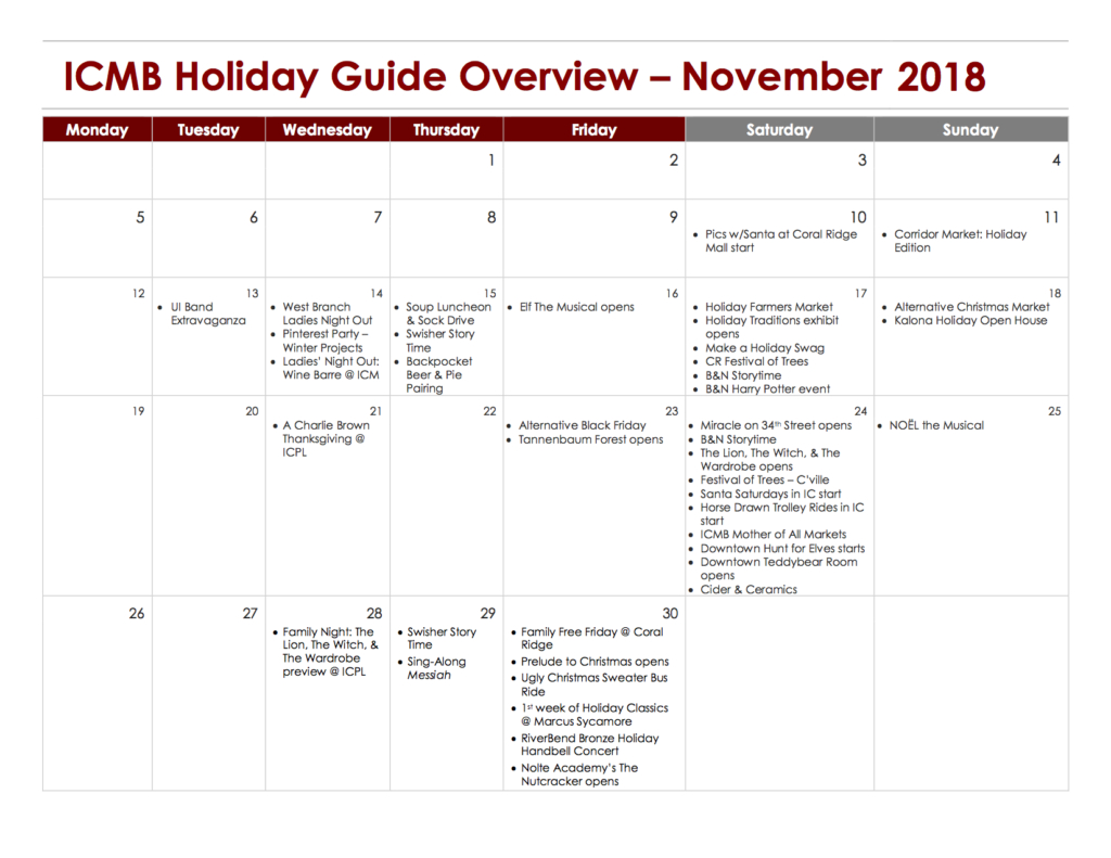 Holiday Activities In The Iowa City Area: Your 2018 Guide