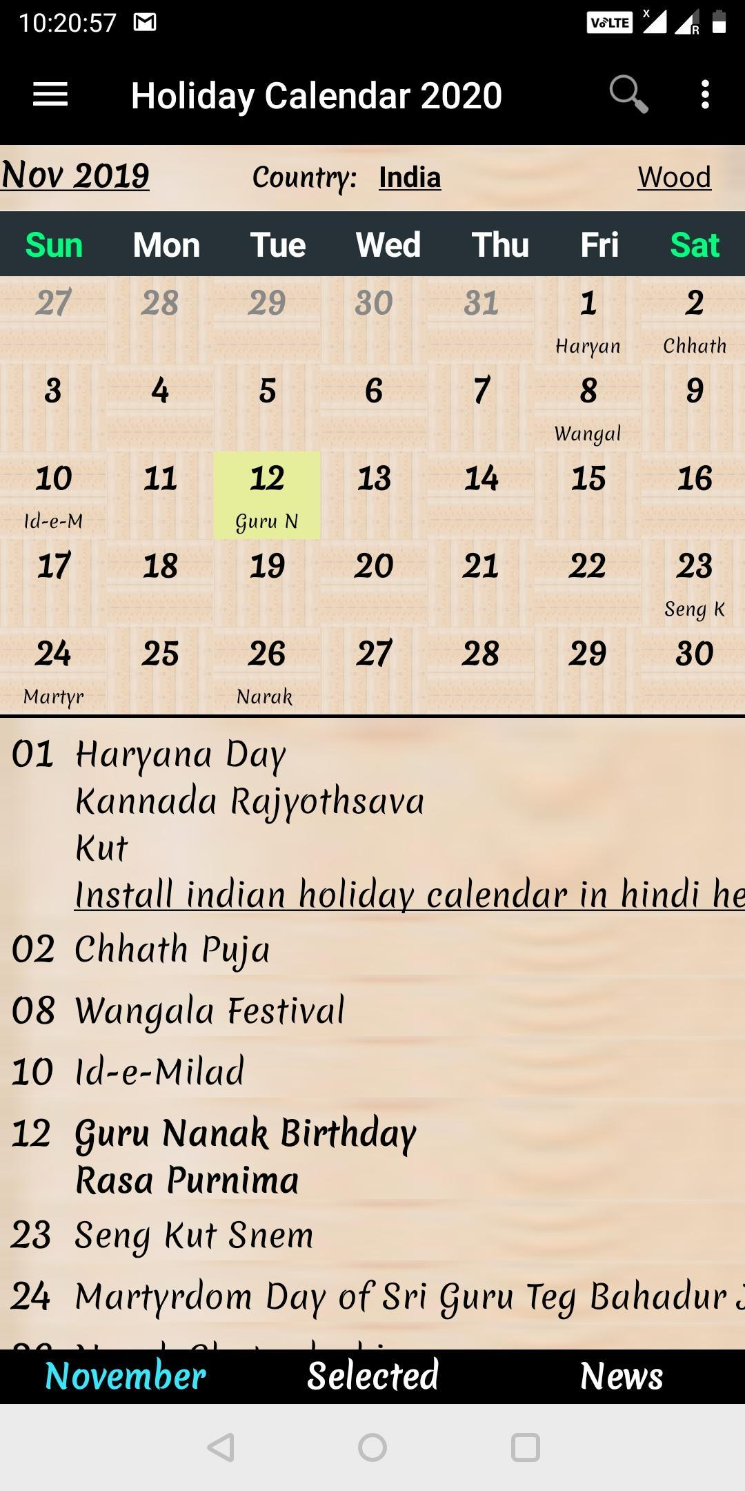 Holiday Calendar 2020 For Android - Apk Download