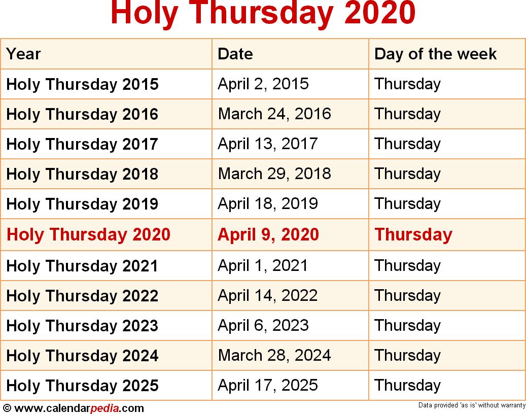 Holy Week 2020. Holy Week Schedule 2020. 2019-10-05
