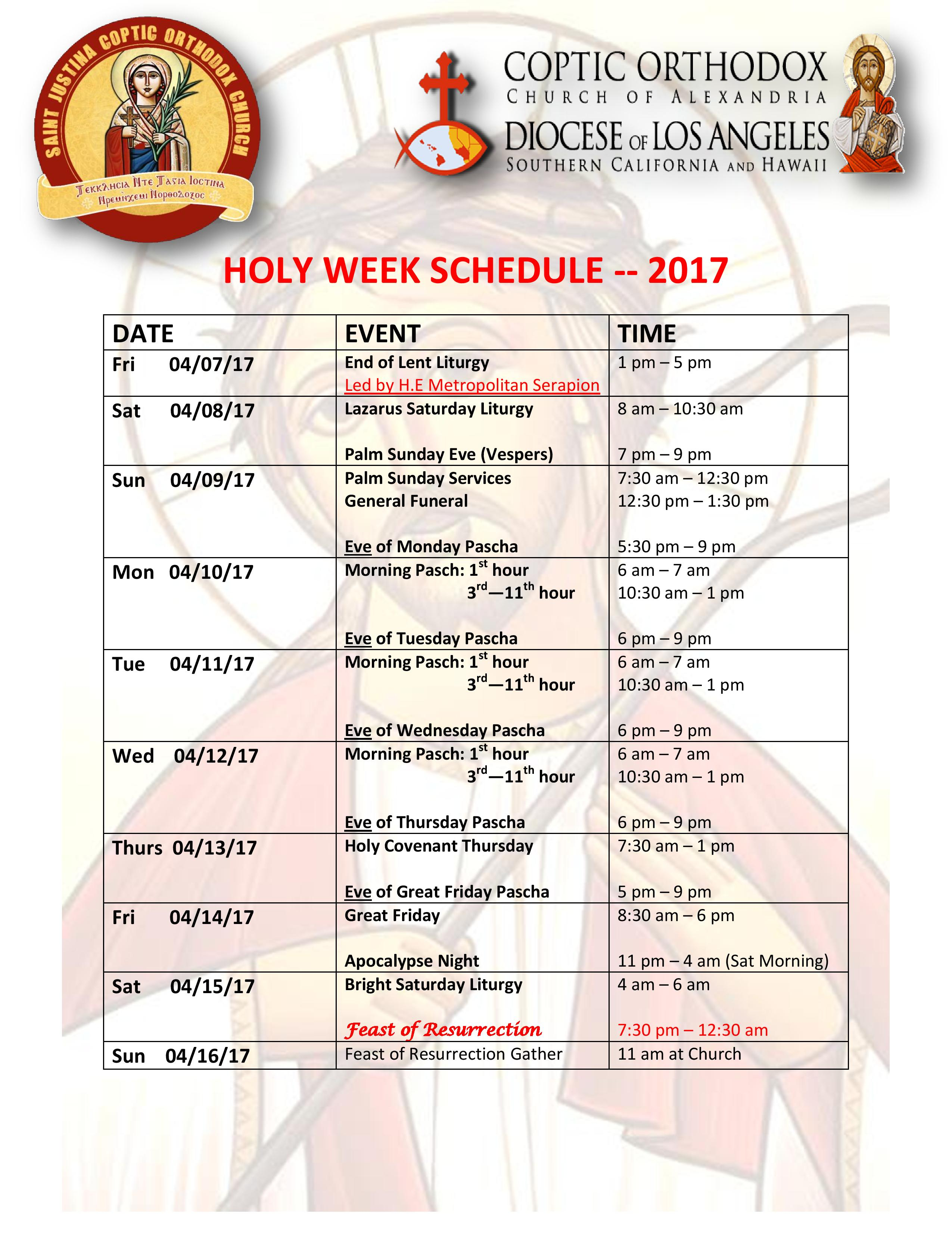 Holy Week Schedule 2017 - St Justina Coptic Orthodox Church