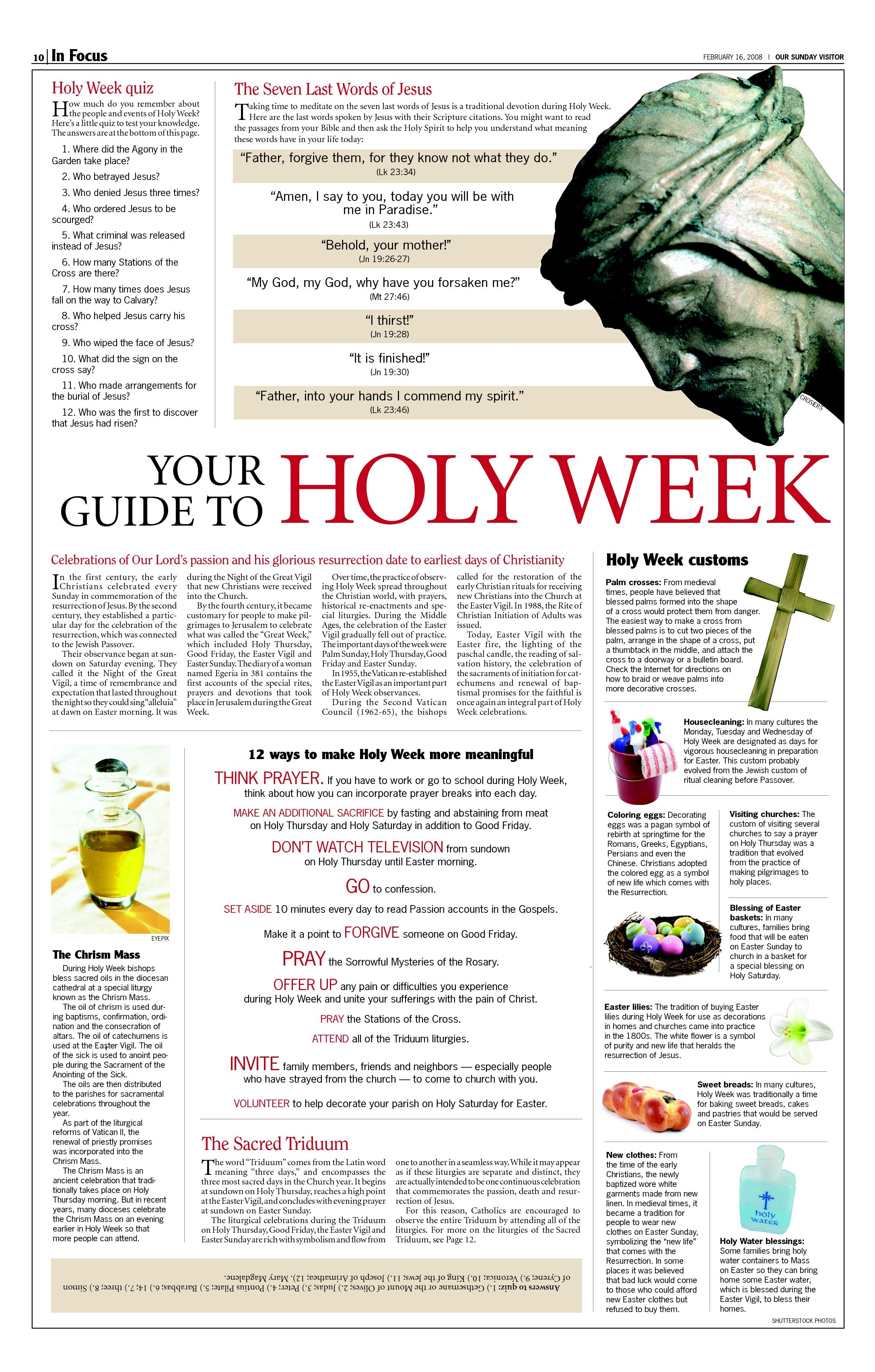 Holy Week! This Is A Catholic Document But Has Some Great