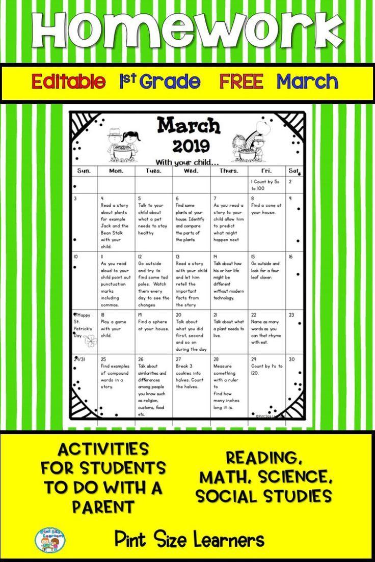 Homework Calendar First Grade Free Editable March 2019