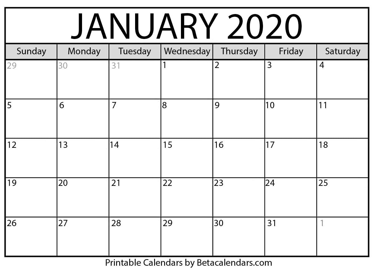 How Do I Print A Calendar For January 2020? - Beta Calendars