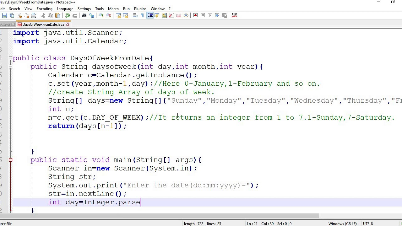 How To Get The Week Days From A Given Date In Java || Using