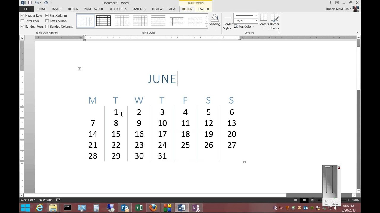 How To Insert A Calendar In Microsoft Word 2013