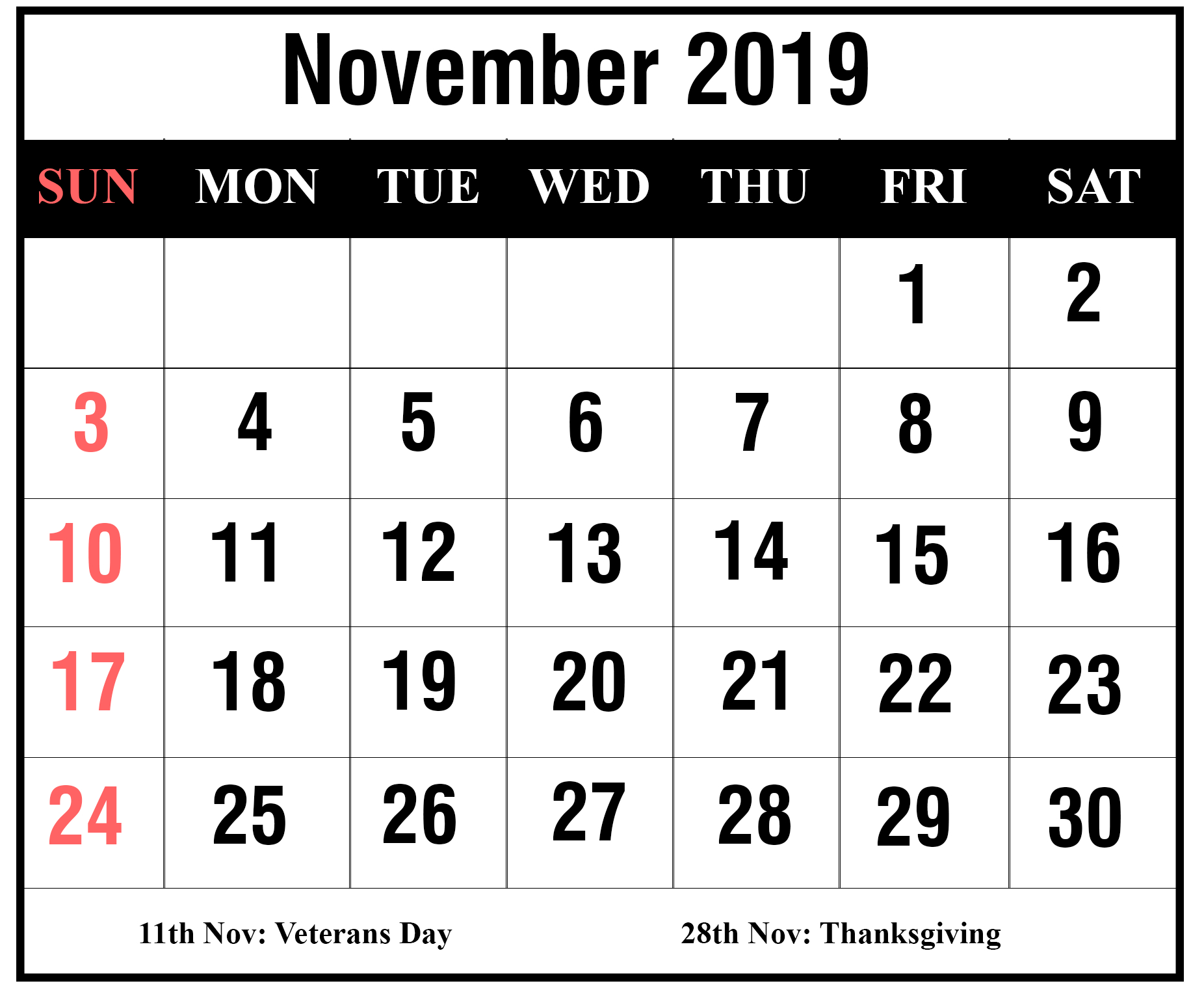 How To Schedule Your Month With November 2019 Printable