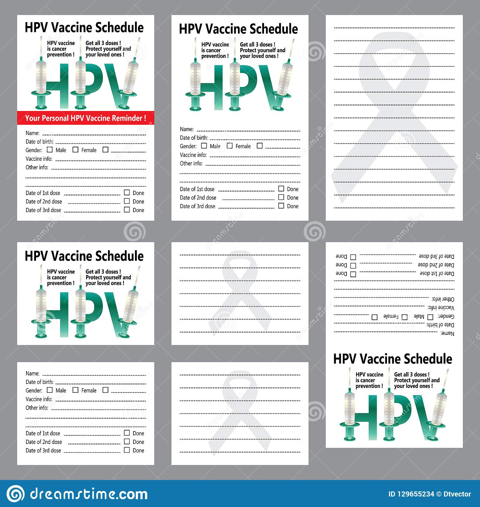 Hpv Vaccine Schedule Reminder Sticker Card Template Set