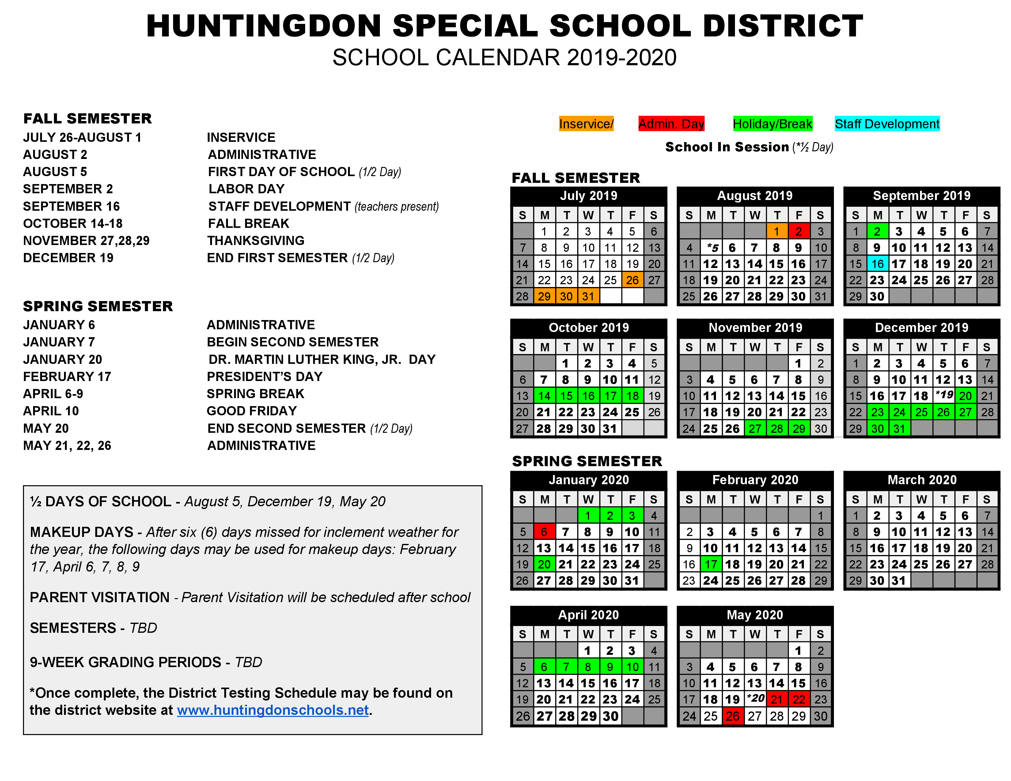 Huntingdon Middle School: Latest News - 2019-2020 District