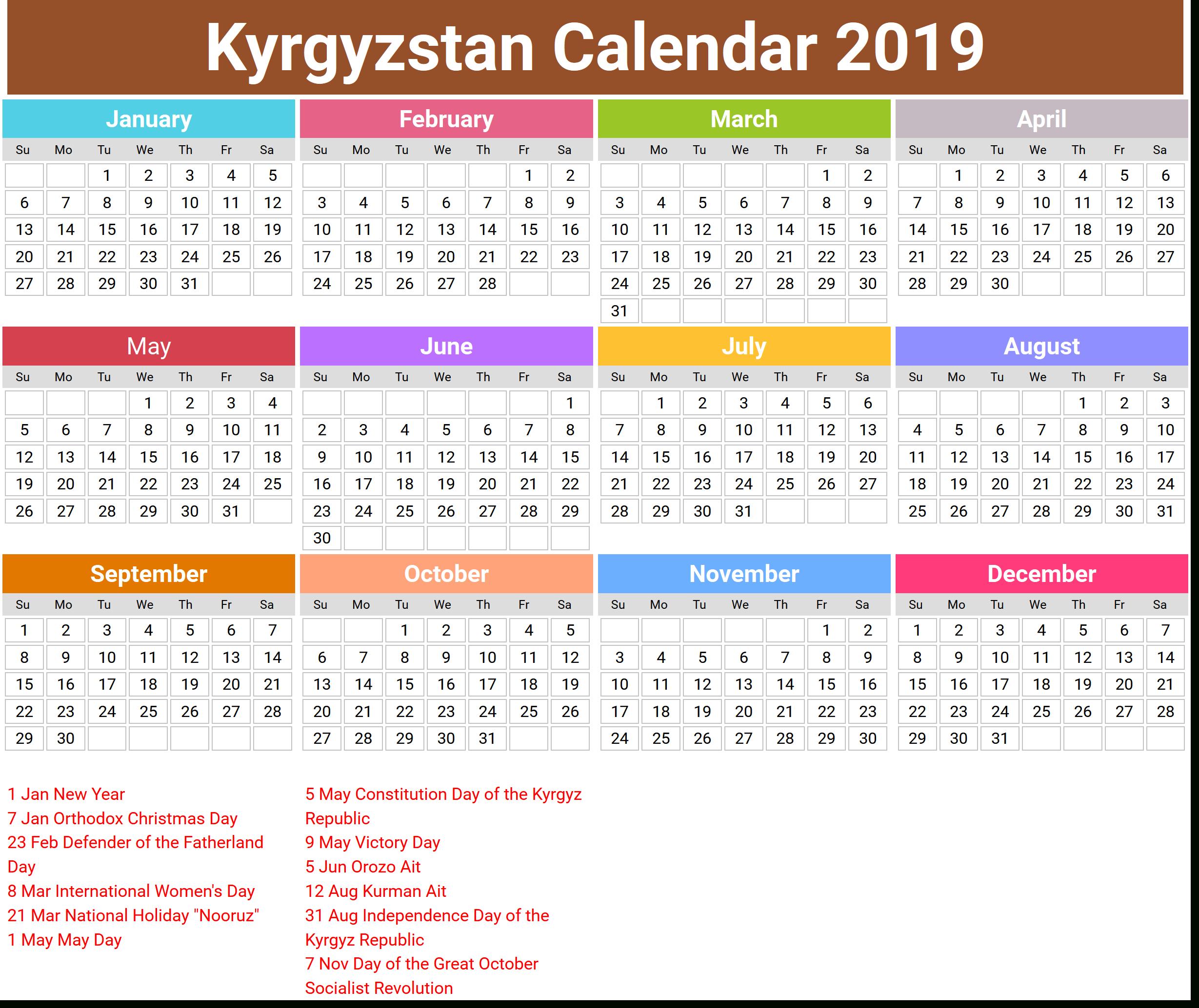 Image For Annual Kyrgyzstan Calendar 2019 | Картинки