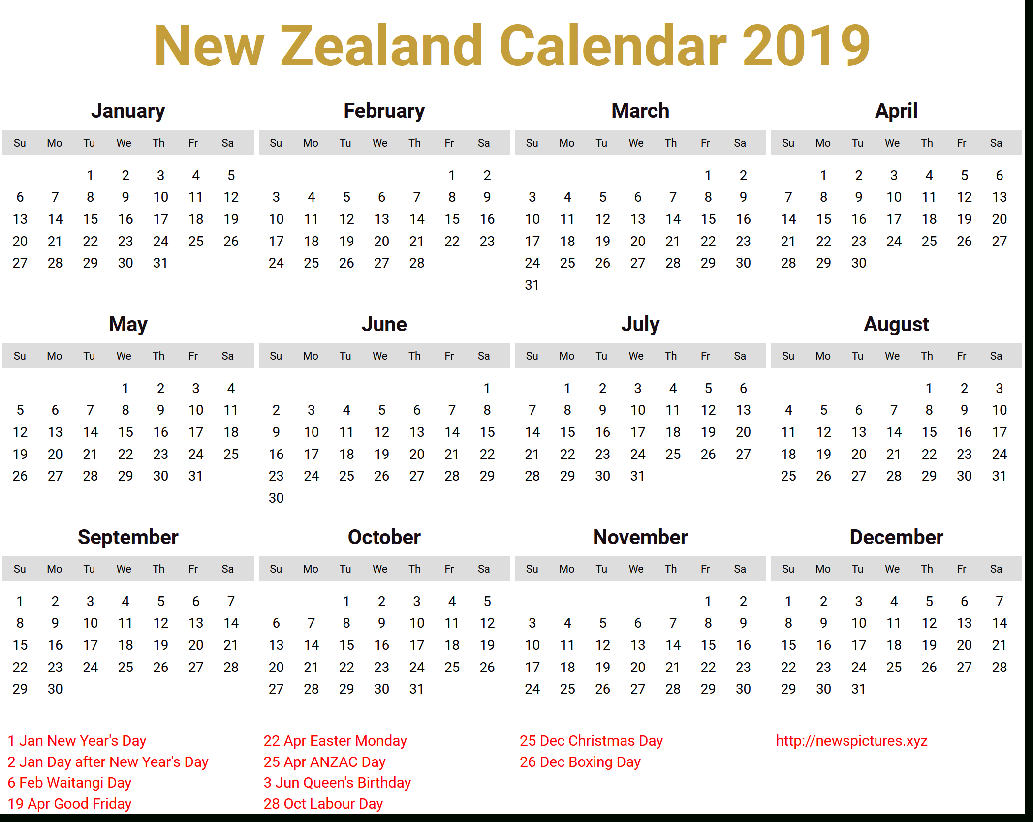 Image For New Zealand Calendar 2019 Download | National