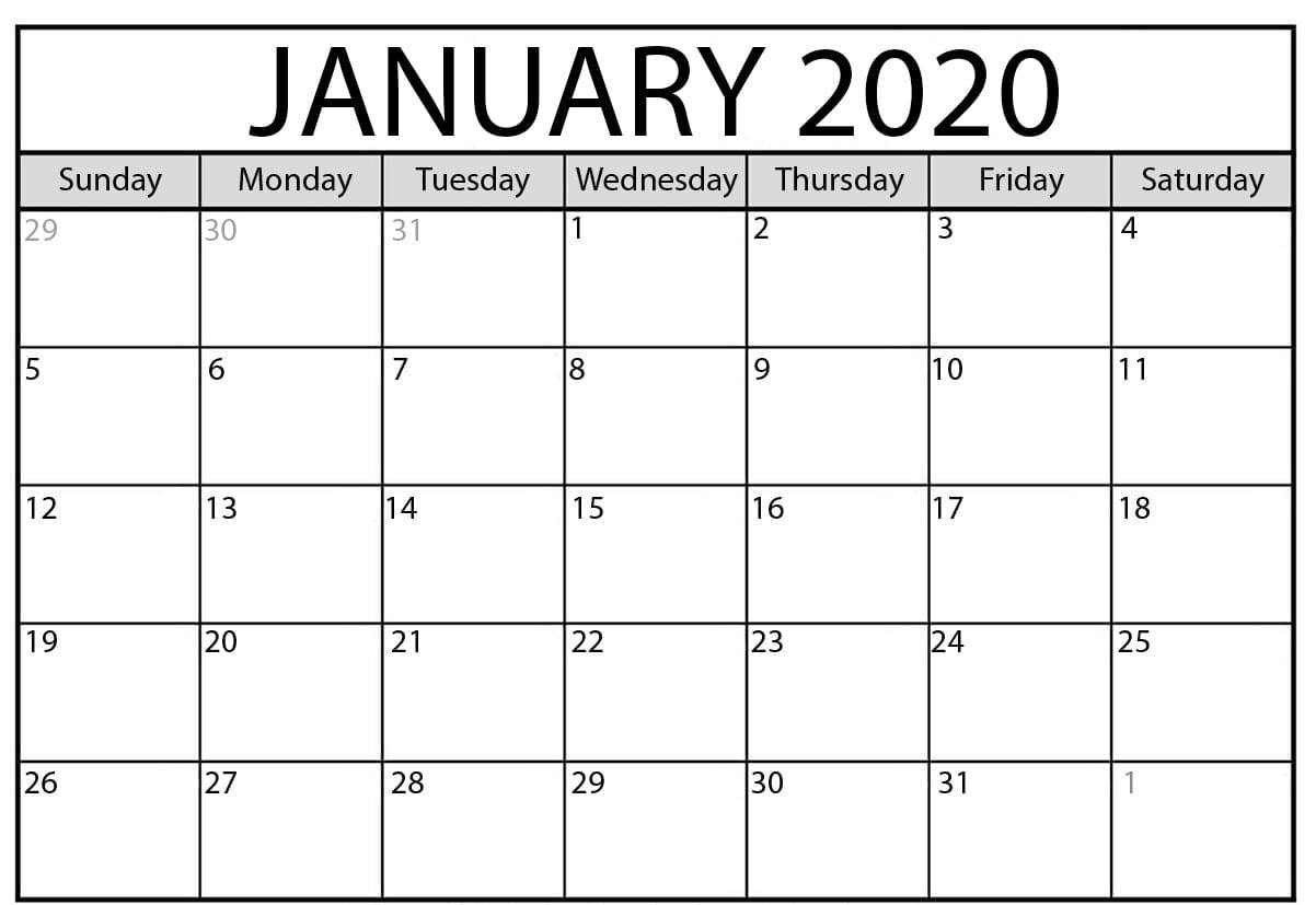 Images For Free Printable January 2020 Calendar | 12 Month