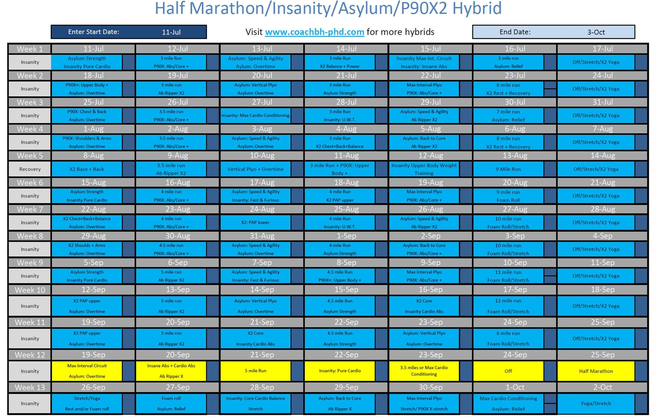 Insanity Hybrids - Monday Starts 12 Weeks To Poky Half