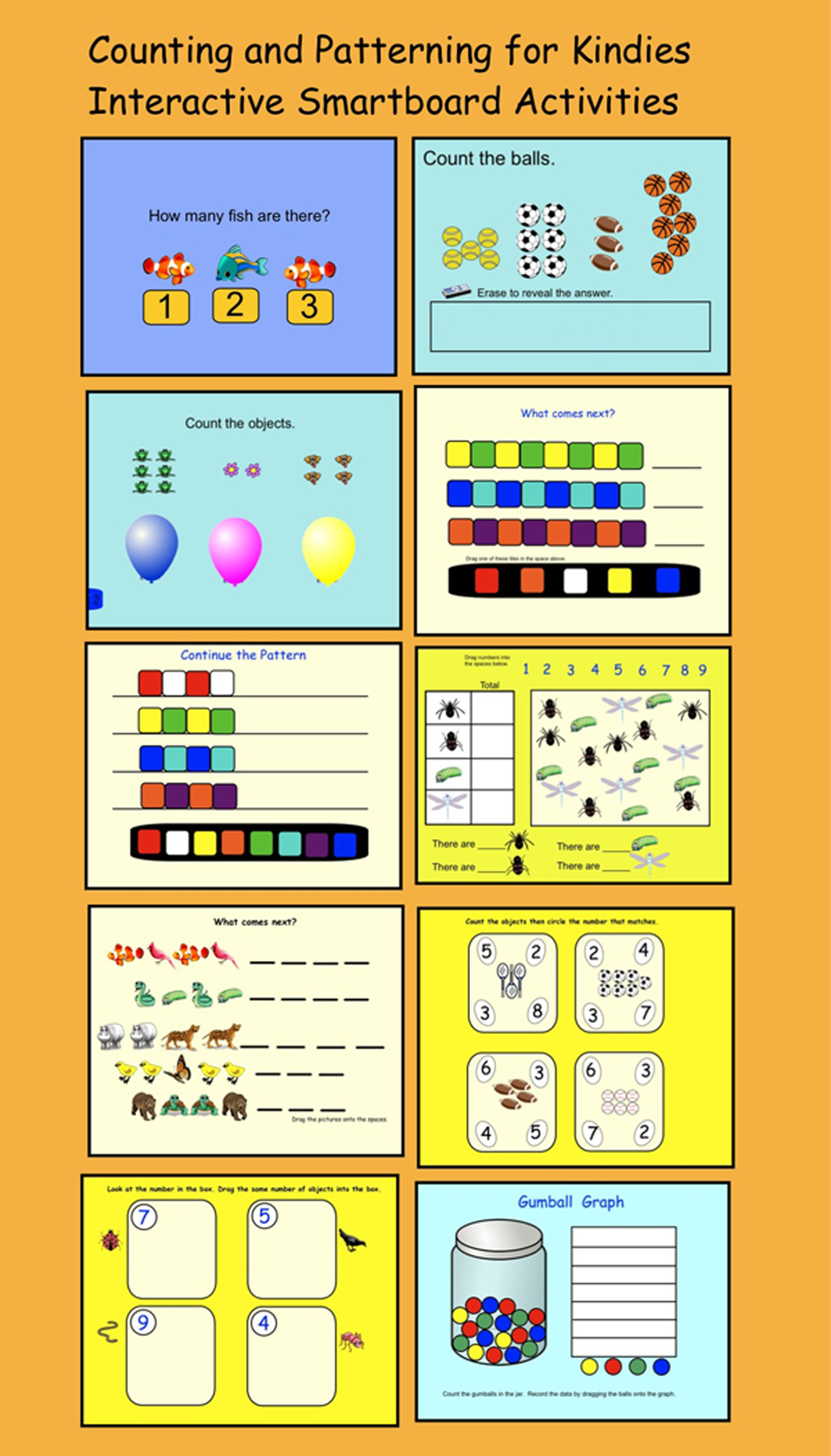 Interactive Smartboard Lesson/ 10 Pages Of Counting And